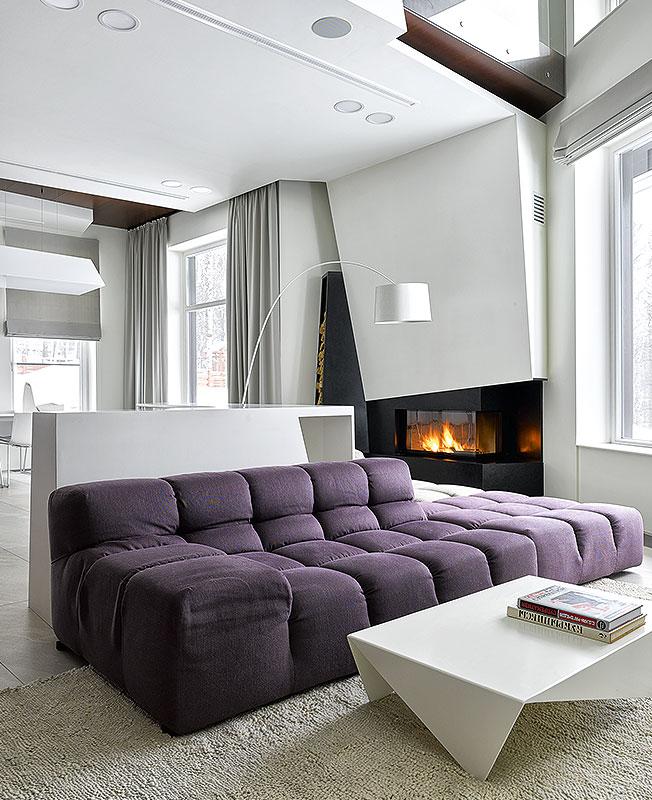 интерьер гостиной с камином фото