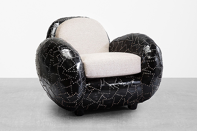 maarten baas 'carapace' steel armchair, 2016 steel, dark patina limited edition of 8 + 4 AP