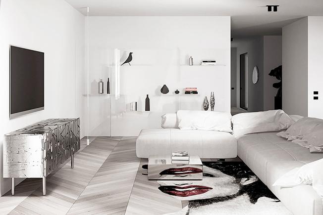 интерьер белой гостиной фото