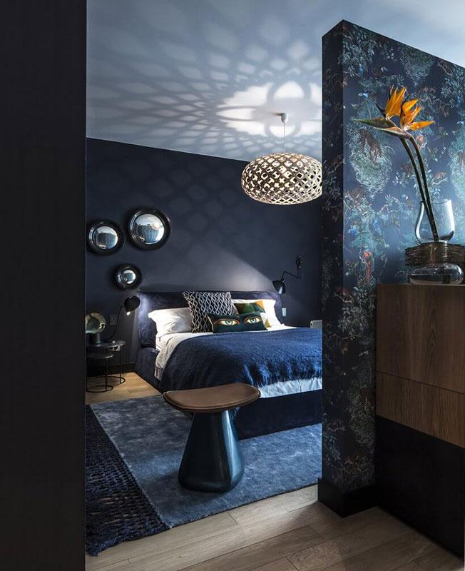 Спальня в синих тонах фото