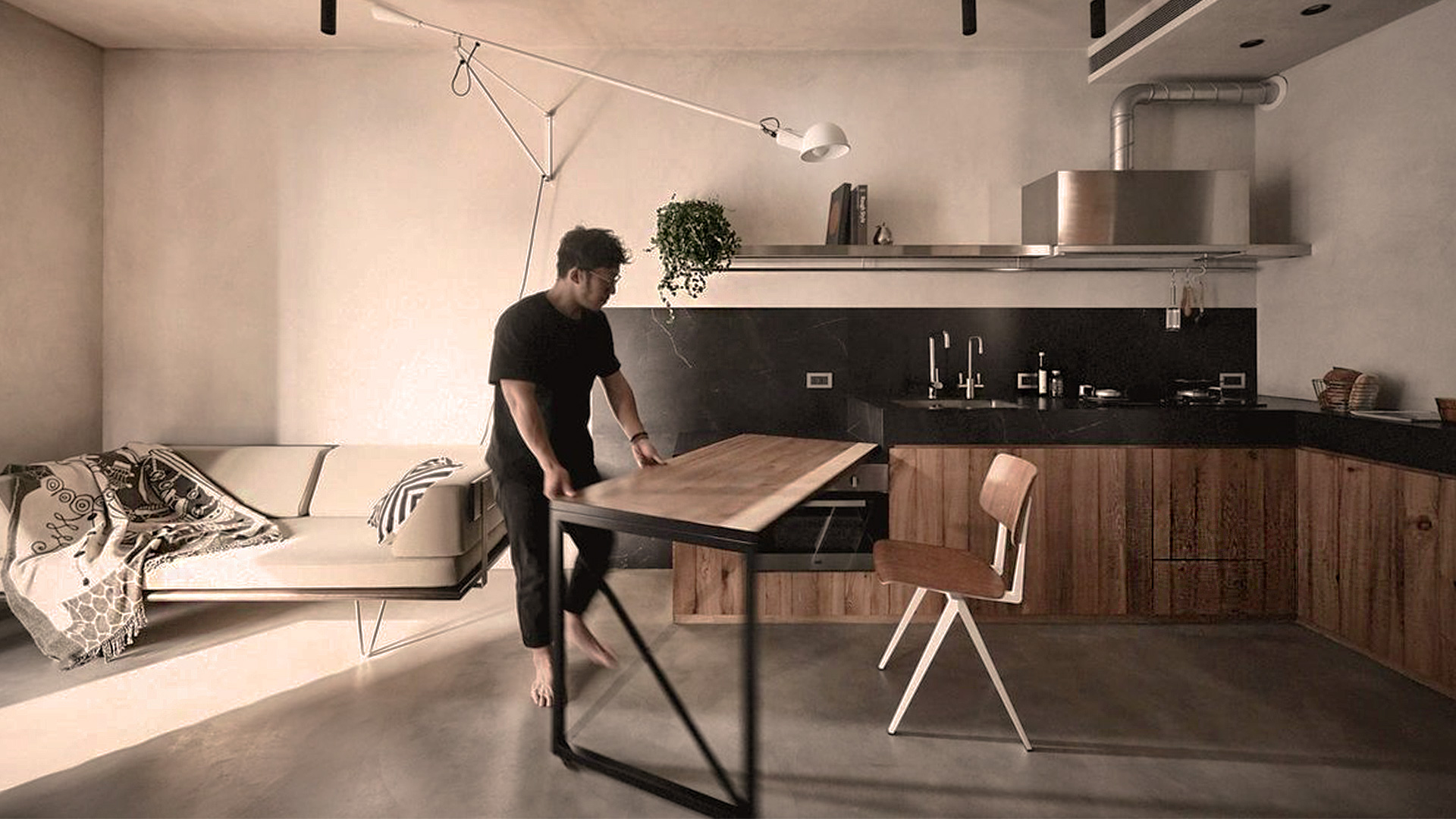 Маленькая квартира с мезонином по проекту KC Design Studio