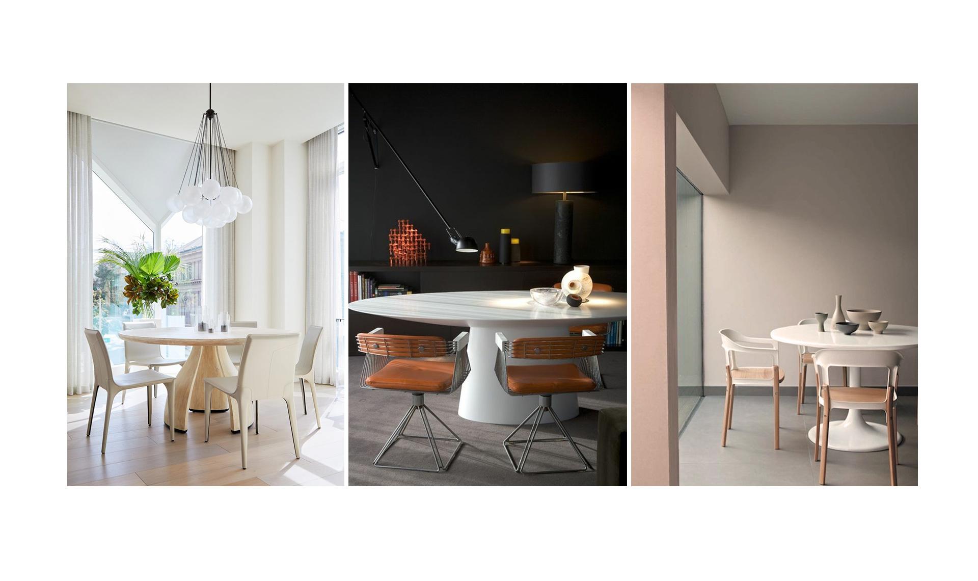 Круглый стол на кухне и в столовой: 45 примеров