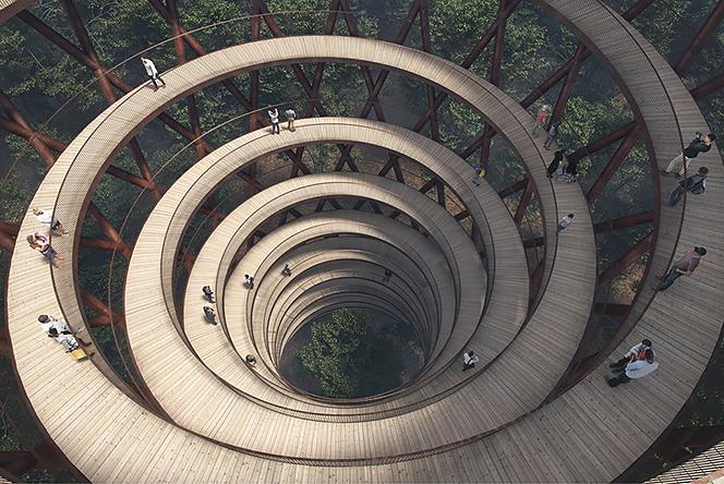Студия EFFEKT: спиральная башня в датском лесу