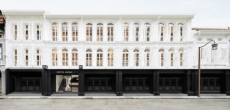 Черно-белый Hotel Mono в Сингапуре: глобальное + колониальное