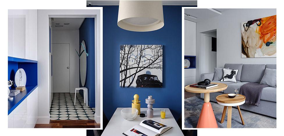 Studio25: квартира с акцентным синим цветом