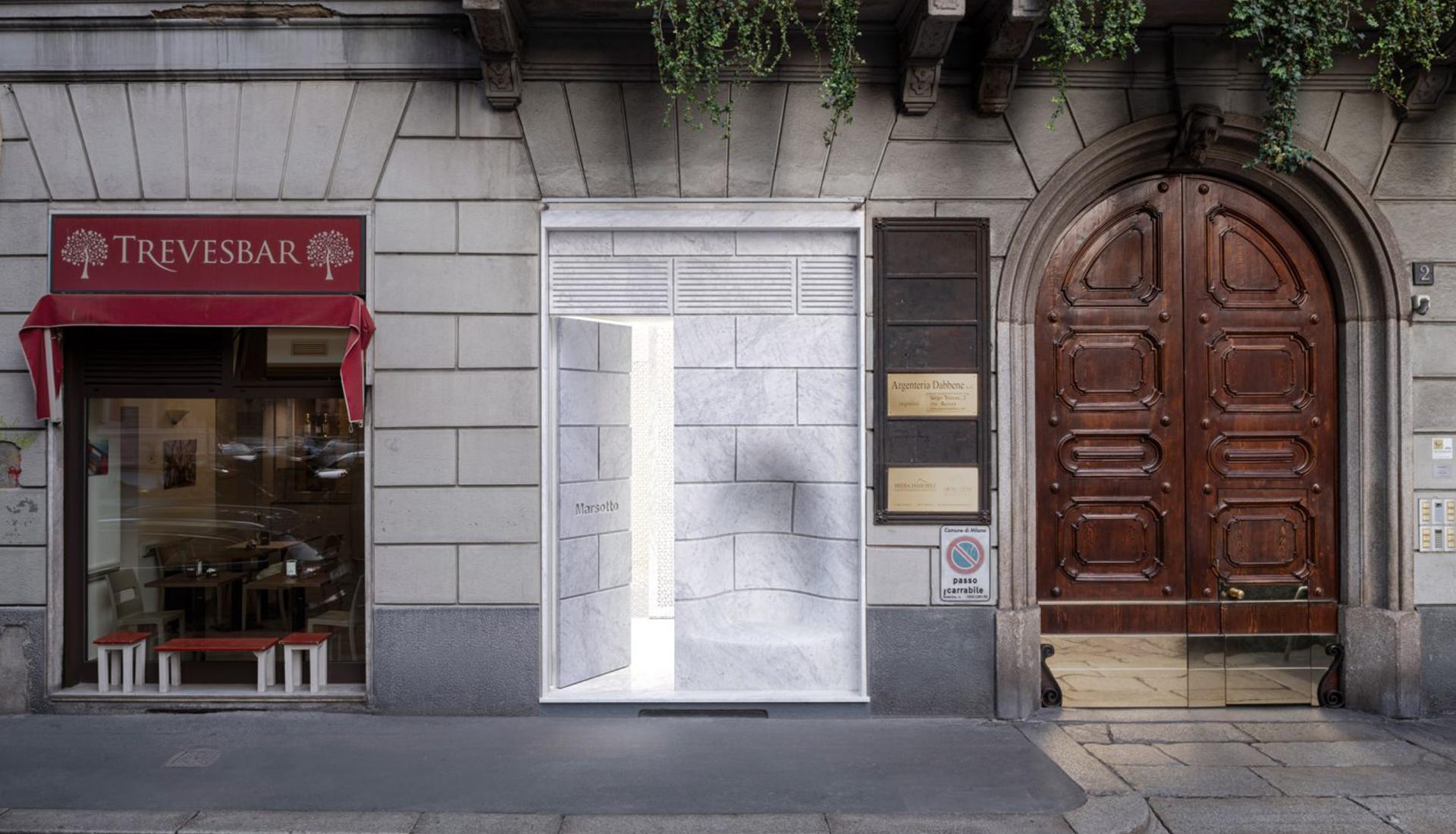 Магазин с мраморным фасадом по проекту Nendo