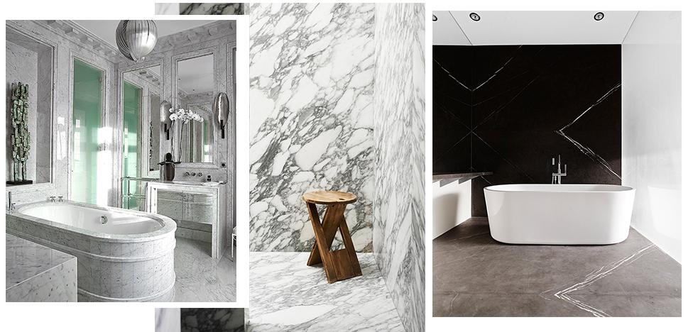 Мрамор и камень в ванной комнате. 25 примеров