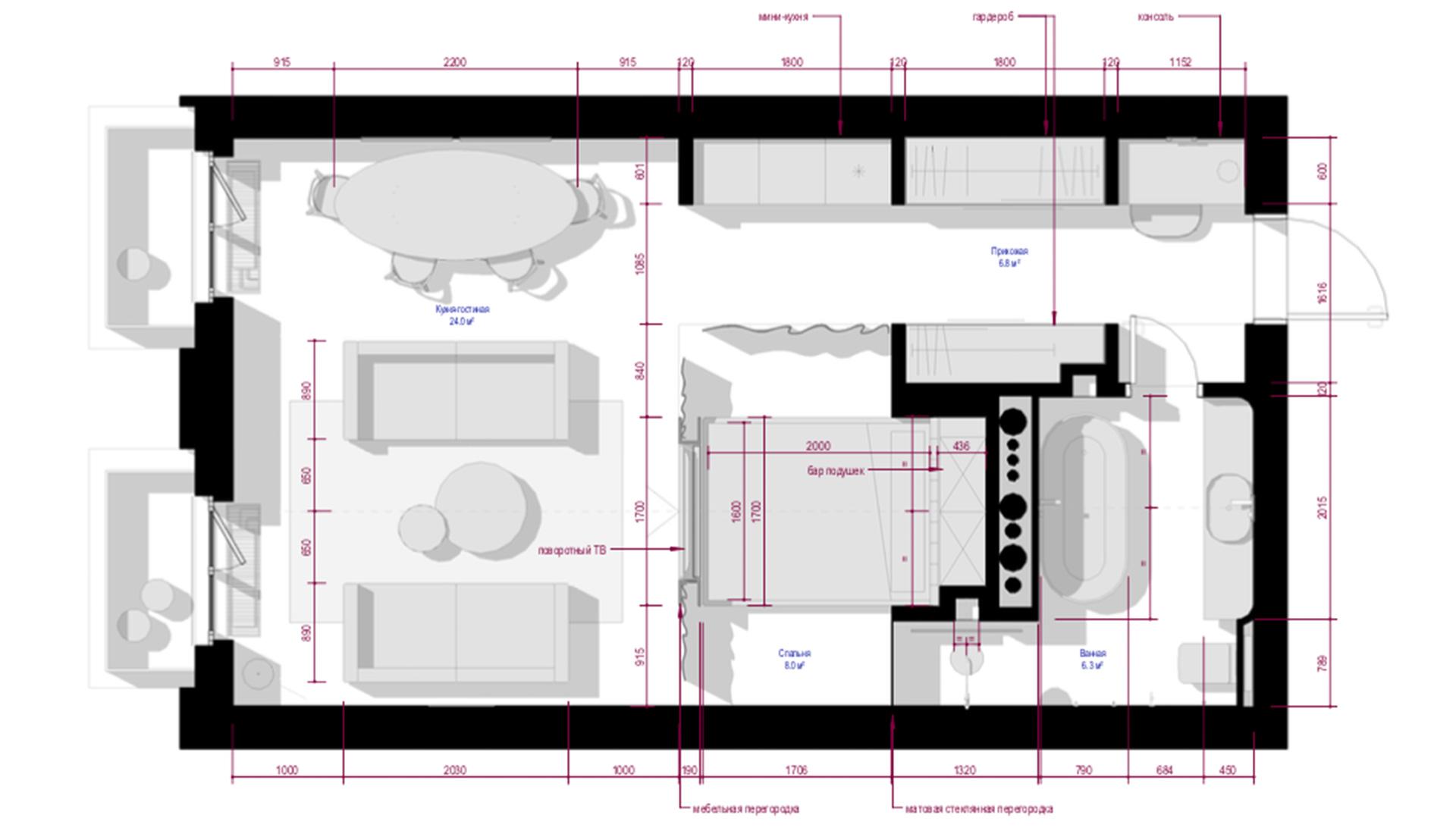 планировка квартиры 45 кв метров фото