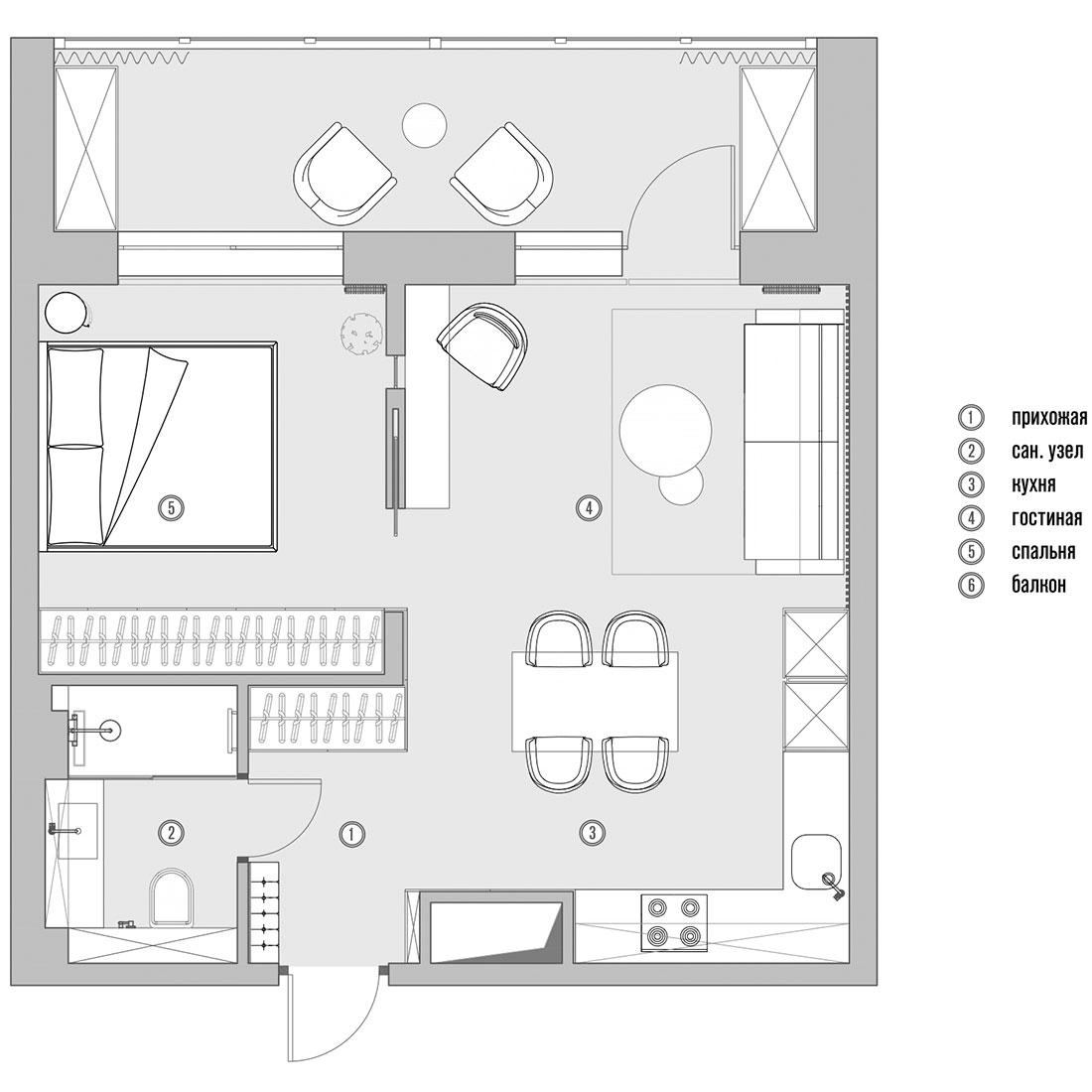 Планировка квартиры 43 кв. метра фото