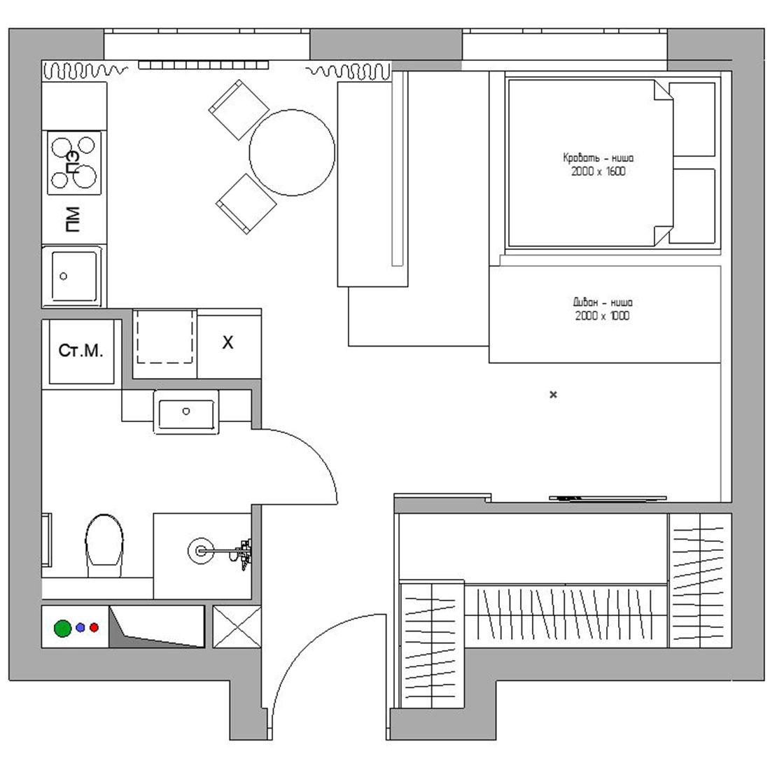 Планировка квартиры 35 кв метров фото