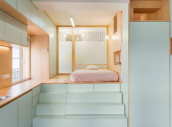 Elii Architects: микро-квартира с потайной мебелью