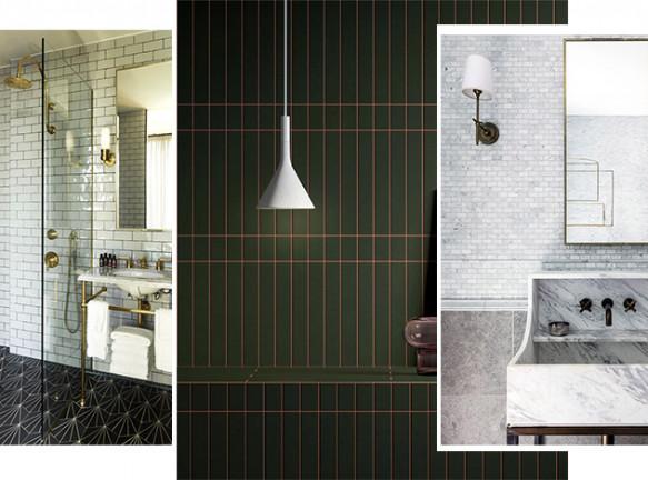 Модные стены: плитка метро в ванной комнате. 20 решений