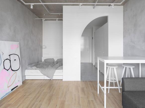 Аскетичная квартира 33 кв. метра в Москве по проекту SHKAF architects