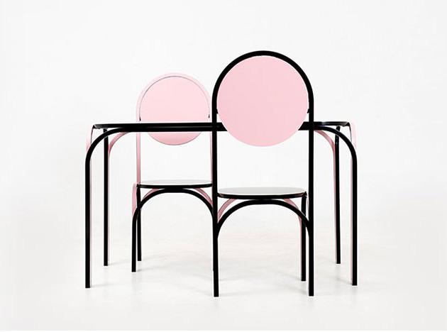 Студия SML: розовый гарнитур для столовой