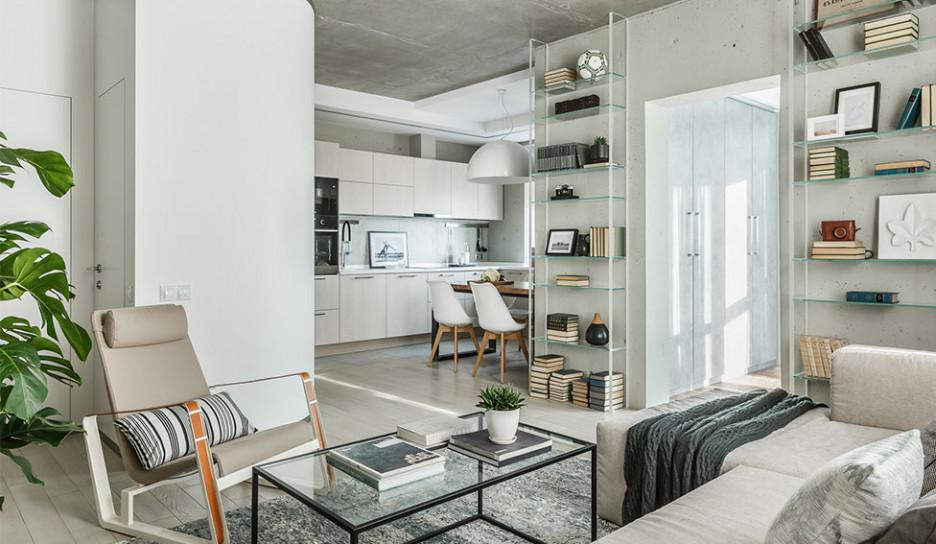 Room Design Büro: квартира 65 кв. метров без отделки стен и потолка