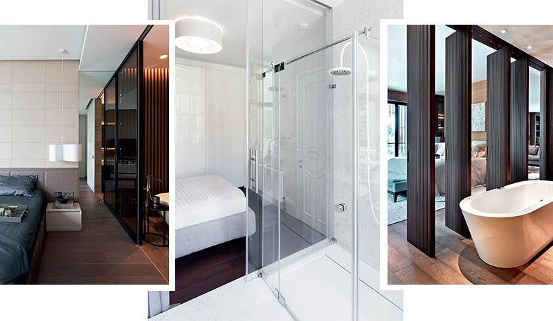 Спальня с видом на ванную: 3 проекта