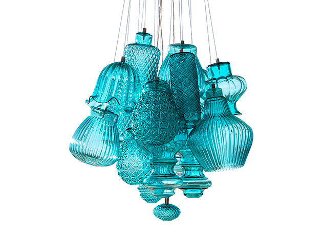 Итальянская люстра в оттенке Tiffany Blue
