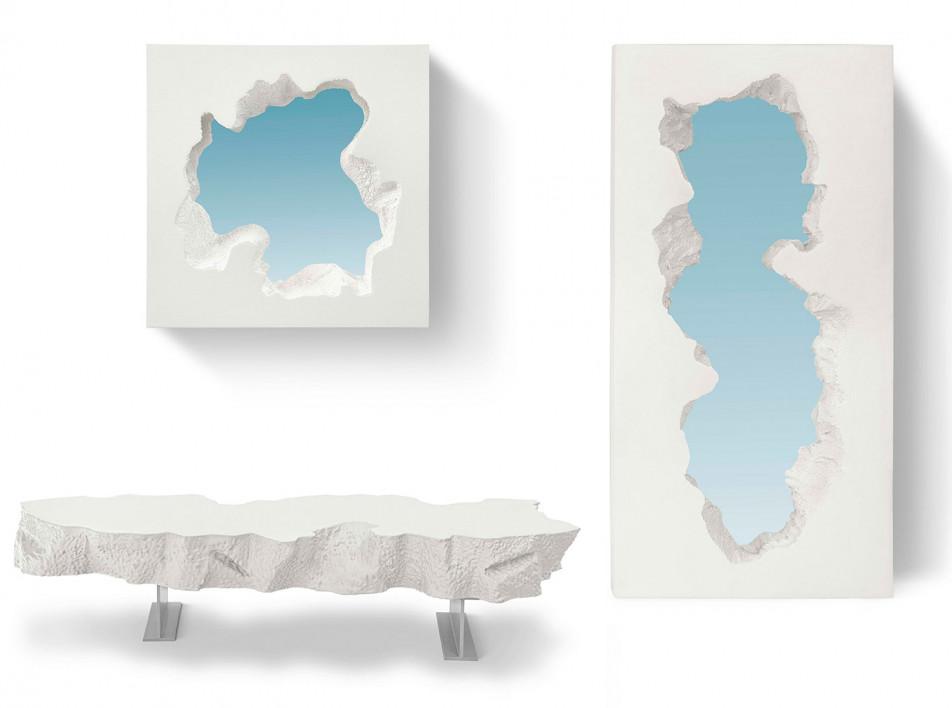 Зеркала и скамейки Snarkitecture для Gufram