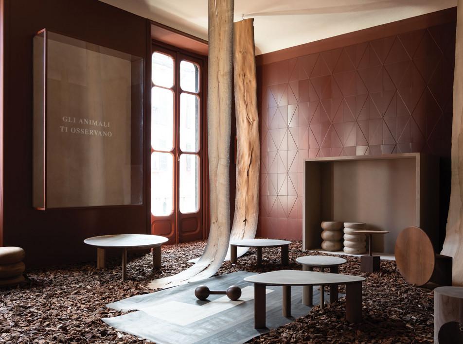 Инсталляция Элизы Оссино и мебель из окаменелового дерева
