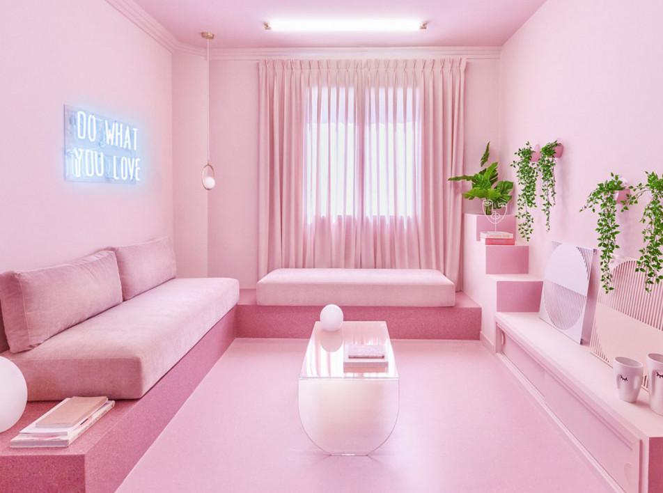 Цвет в интерьере: розовая квартира в Мадриде