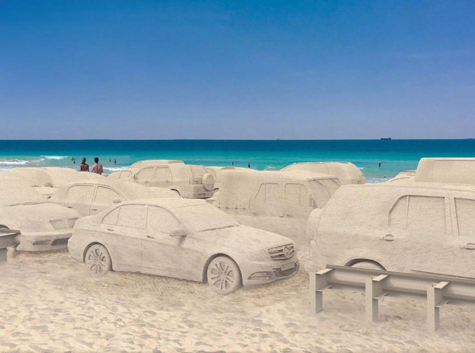 Автомобильная пробка в Майами: инсталляция Леандро Эльриха