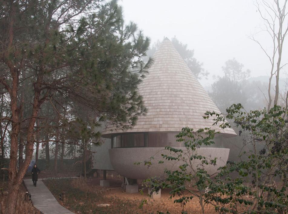 Дом-гриб в сосновом лесу по проекту ZJJZ Architecture Practice